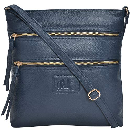Leather Crossbody Purses and Handbags for Women-Premium Crossover Bag Over The Shoulder Womens (Navy Pebble) - Bag Leather Blue