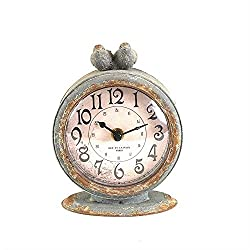 Creative Grey Pewter Table Clock with Bird