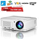 Wireless WiFi Video Projector Android 3200 Lumens LCD LED 1280x800 HD Home Theater Projector for Home Cinema TV Laptop Game iPhone Andriod Smartphone iPad MacBook with Free HDMI Cable