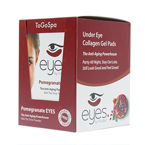 Pomegranate EYES by ToGoSpa - Premium Anti-Aging Collagen Gel Pads for Puffiness, Dark Circles, and Wrinkles - Under Eye Rejuvenation for Men & Women - 10 Pack - 30 Pairs