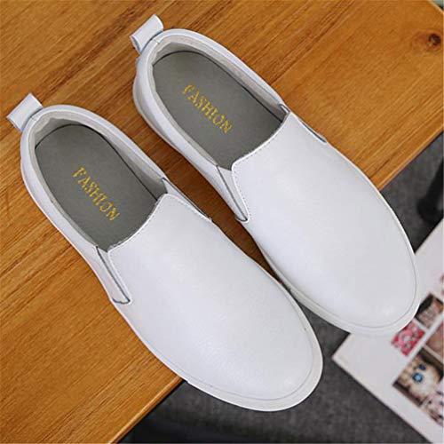 505 De Bajos En De De OtoñO Blanco Las Zapatos Mocasines Calzado Los Informal Negro Cuero Zapatos Ruffles Ballet Holgazanes Blanco De De Barco Los del ResbalóN Plata SeñOras del Mujeres fwxUPSdqX