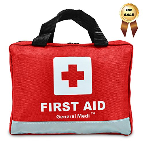309 Piece Professional First Aid Kit for Medical Emergency - Night Reflective Bag - Includes Emergency Blanket, Bandage, Scissors for Home, Car, Camping, Office, Boat, and Traveling (Kit Medical)