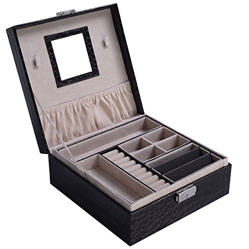 PROSPERLY U.S.Product Jewelry Box Storage Organizer Case Ring Earring Necklace Mirror PU Coffee - Locations Macys Nyc