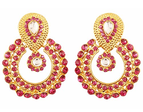 Indian Earrings Designer (Touchstone Indian Bollywood Round Bali Shape Traditional Kundan Polki Jadau Pink Fuchsia Long Bridal Designer Jewelry Chandelier Earrings for Women in Antique Gold Tone.)
