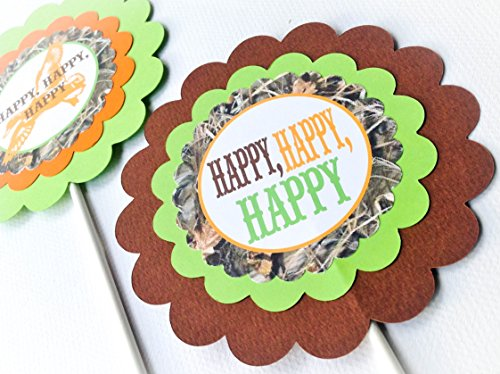 3 - Centerpieces or Cake Toppers - Duck Dynasty Inspired Happy Birthday Collection - Max 4 Camo Background & Lime Green, Orange and Brown Accents - Party Packs Available