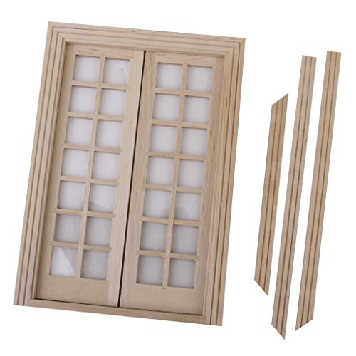 - Fityle Dollhouse Miniature Glazed Double French Wood Doors & Frame DIY Accessory