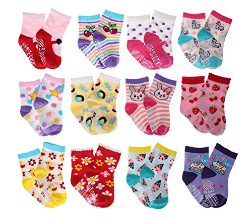 SDBING Baby's Cute 12-pair Thick Warm Cotton Socks (Anti-slip 1 to 3 Years Old)