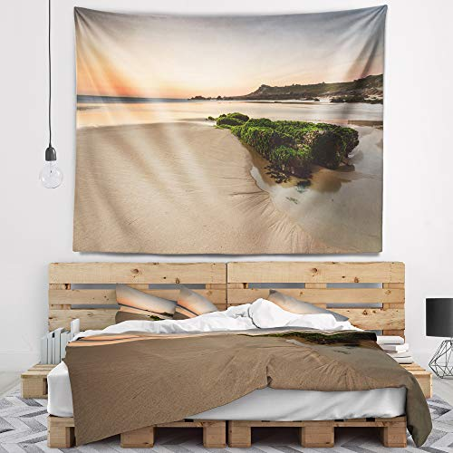 Designart TAP9396-80-68 'Beach at Sunset in Spain' Seashore Photography Tapestry Blanket Décor Wall Art for Home and Office, x Large: 80 in. x 68 in, Created on Lightweight Polyester Fabric by Designart
