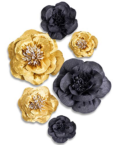 Letjolt Crepe Paper Flower Decorations Golden Black Artificial Flower for Homecoming Dance Backdrop Wedding Decorations Baby Shower Bridal Shower Nursery Wall Decor(Set 6) -