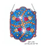 HF-178 Vintage Tiffany Style Stained Church Art Glass Decorative Splendid Flowers Window Hanging Glass Panel Suncatcher?24'' x18.5''