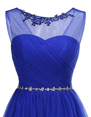 Alagirls Femmes Robe De Retour À La Maison Robes De Fête De Bal Du Cou Court Tulle Équipage De Perles Bleu