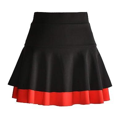 E-Girl E8716 - Falda Plisada para Mujer Negro y Rojo. 38 EU X ...