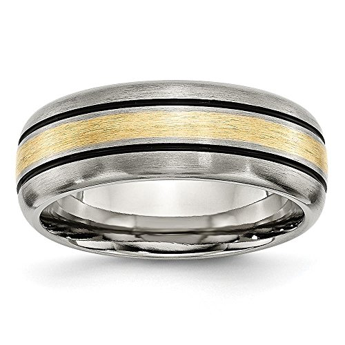 Titanium Grooved 14k Gold Inlay 8mm Brushed & Antiqued Wedding Ring Band by Chisel Size - Ring Wedding Mens Antiqued