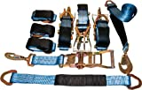 4 Axle Strap Tie Downs 24'' Long and 4 Ratchet Tow Straps Car Haulers