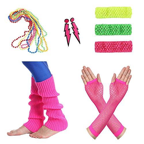 Amaza Anni 80 Abbigliamento Donna Accessori Retro Legwarmers Neon Guanti Orecchini Collana Fascia
