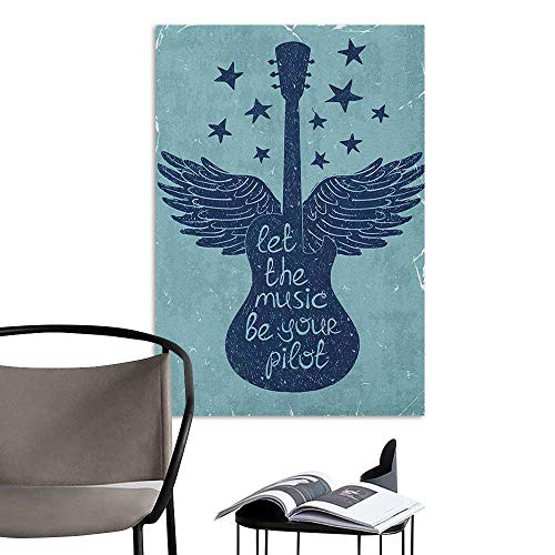 Art Decor 3D Wall Mural Wallpaper Stickers Music Let The Music Be Your Pilot Quote Winged Electronic Guitar and Stars Retro Print Dark Blue Hall Fashion W16 x H20