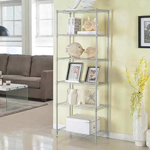 LANGRIA 6 Tier Wire Storage Rack and Shelving Unit Organization with 5 Hooks,Silver