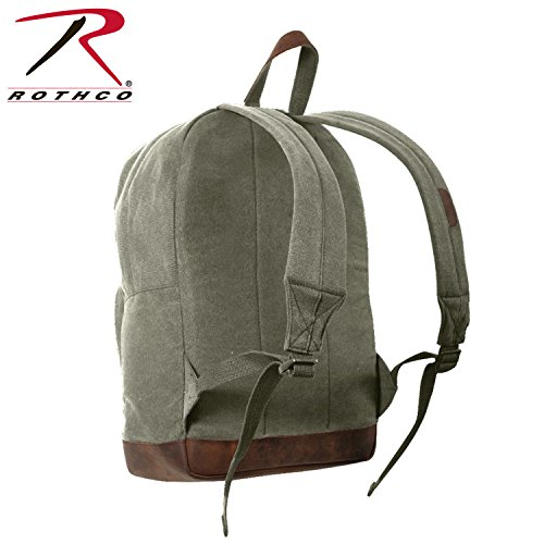Rothco Canvas Teardrop Pack, Olive Drab/Leather Accents