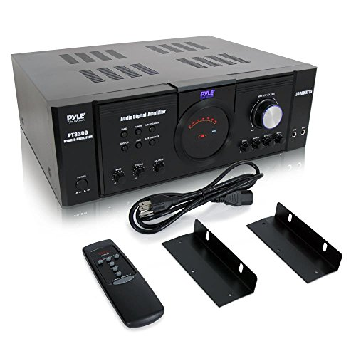 Pyle 3000 Watt Premium Home Audio Power Amplifier - Portable 4 Channel Surround Sound Stereo Receiver w/ Speaker Selector & Remote - For Amplified TV, Subwoofer Speakers, Theater & PA System - PT3300 ()