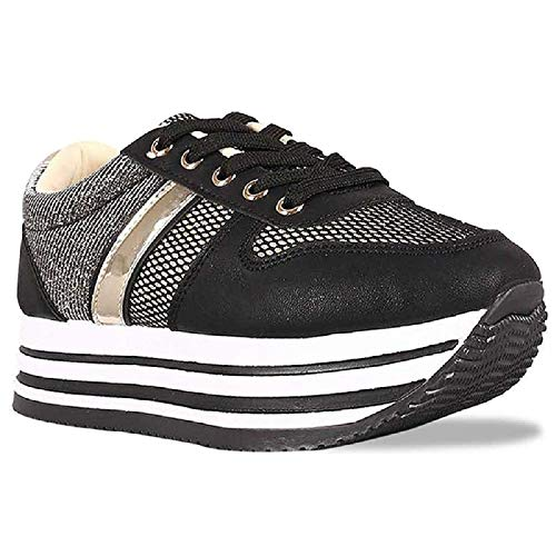 Z. Emma Women's Fashion Glitter Mesh Breathable Platform Sneakers Lace Up Casual Walking Shoes SN02 Silver ()