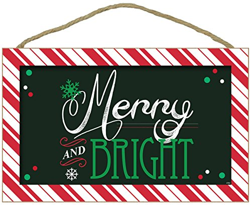 """Christmas Holiday Wall Hanging Decor 10"""" x 16"""" Plaque Inscribed """"MERRY AND BRIGHT"""""""