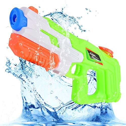 Flyglobal Water Gun for Kids Adults, High Capacity 900CC Super Water Blaster Soaker Pistol Squirt Toy 30 Feet Shooting Range for Summer Water Fight Outdoor Swimming Beach Sand Pool Toy Green (Best Water Gun For Shooting Cats)