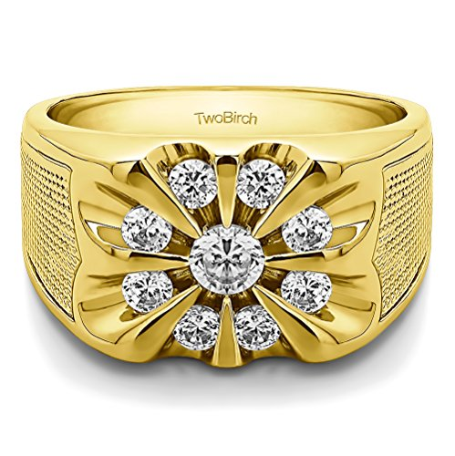 14k Yellow Gold Mens Fashion Ring Charles Colvard Moissanite(0.88Ct)Size 3 To 15 in 1/4 Size Intervals
