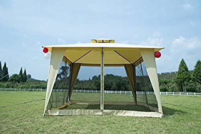 GOJOOASIS Metal Gazebo Outdoor 2-Tier Canopy Party Tent with Mesh Sidewalls 12x12 Beige
