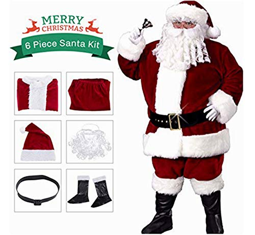 aingycy Santa Claus Costume Christmas Flannel Deluxe Santa Suit Complete Christmas Halloween Costume Set of 6 Pcs -