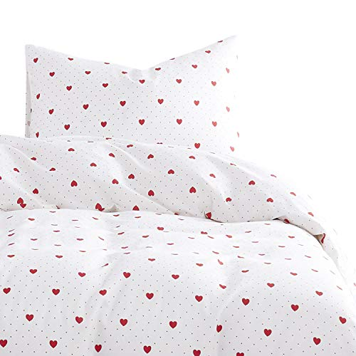 - Wake In Cloud - Red Love Duvet Cover Set, 100% Cotton Bedding, Red Hearts Dots Pattern Printed on White, with Zipper Closure (3pcs, Queen Size)