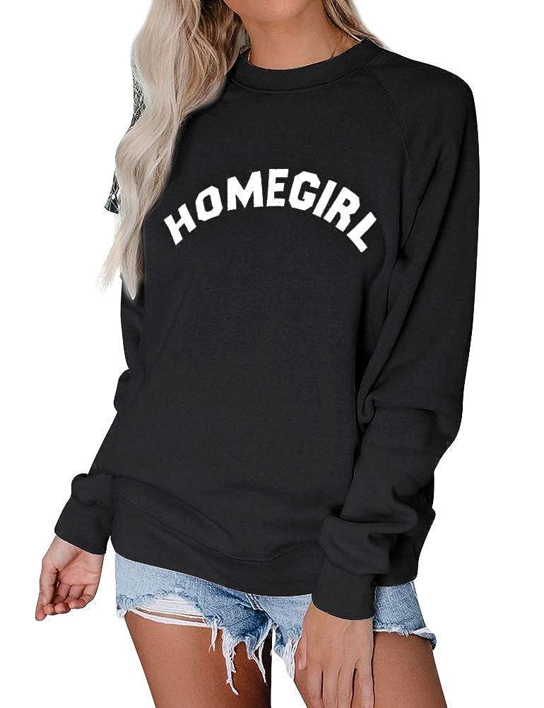 Naliya Womens Sweatshirt Homegirl Letter Crewneck Long Sleeve Pullover Loose Tops