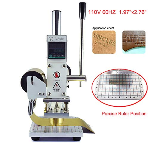 Hot Foil Stamping Machines - Hot Foil Stamping Machine 5 x 7cm Tipper Stamper Bronzing Card Foil Logo Embossing for for PVC leather PU and Paper Stamping (110V)