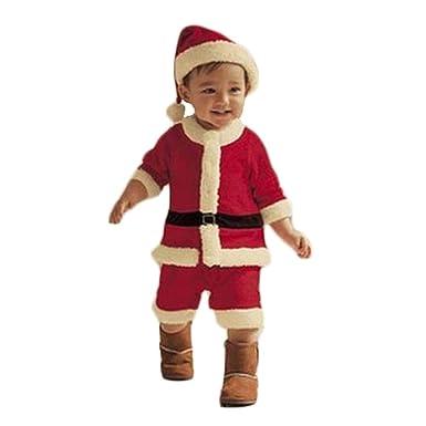 63cd0725a0d14 LAIKETE Ensemble de Vêtements de Fête Noël Costume Funny 4PCS Enfant Tops  Manteau +Pantalons et
