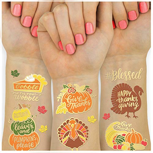 xo, Fetti Thanksgiving Tattoos for Kids - 30 styles | Give Thanks Decorations, Turkey, Happy Fall Decor, Autumn Game, Blessed