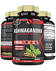 Organic Ashwagandha Capsules with Black Pepper - Equivalent 6050 mg Herbal Ingredient Powder - Stress, Cortisol, Adrenal Support - 90 Capsules - 3 Month Supply