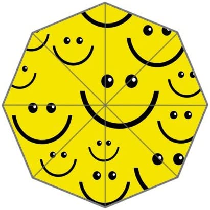 Custom Smiley Faces Compact Travel Windproof Rainproof Foldable Umbrella