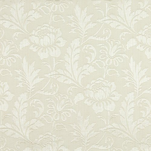A0100J Ivory Two Toned Floral Metallic Sheen Upholstery Fabric By The (High End Upholstery)