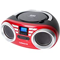 Lenoxx RED Portable CD Player with radio and AUX compatibility