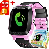 (US) TURNMEON 1.44'' Touch Screen Smart Watch Kids GPS Tracker with SIM Calls Anti-lost SOS Children Smart Bracelet Finder Safety Monitor Flashlight with Parent Control App for Smartphone (Mix Pink)