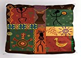 Lunarable Ethnic Pillow Sham, Funky Tribal Pattern Depicting African Style Dance Moves Instruments Spiritual Art, Decorative Standard Queen Size Printed Pillowcase, 30 X 20 Inches, Multicolor