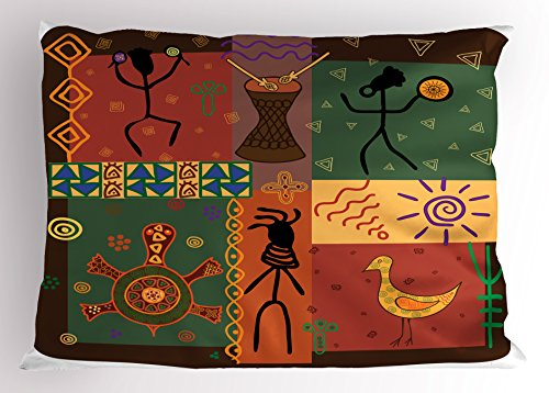 Primitive Pillow Sham by Lunarable, Funky Tribal Pattern Depicting African Style Dance Moves Instruments Spiritual, Decorative Standard Queen Size Printed Pillowcase, 30 X 20 Inches, Multicolor