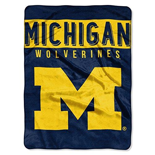 (The Northwest Company 1 Pc, Michigan Wolverines Blanket 60x80 Raschel Basic Design, Acrylic & Polyester, Extra Warm & Superior Durability, Easy Care, Machine Washable & Dryable)