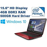 2016 HP Flyer Red 15.6 High Performance Flagship Laptop - Intel Pentium Quad Core N3540 Processor up to 2.66GHz, 4GB RAM, 500GB HDD, DVDRW, HD Webcam, WLAN, Windows 10 Home (Certified Cefurbished)