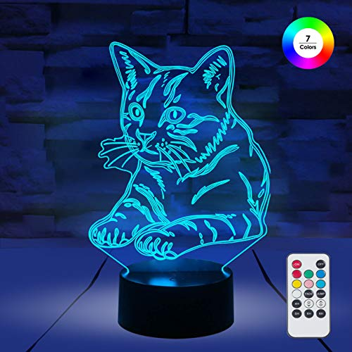([ 7 Colors/3 Working Modes/Timer Function ] Remote and Touch Control Cat Night Lights, Dimmable LED Bedside Lamp for Children and Kid's)