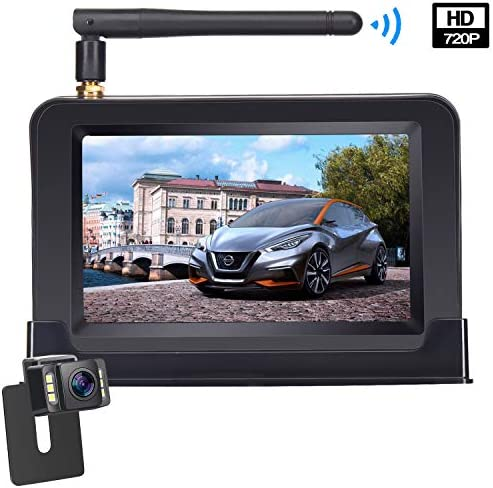 Digital Wireless Backup Camera Kit, 4.3 LCD Monitor IP69 Waterproof Rear View License Plate Reverse Back Up Camera with Super Night Vision for RV, Cars, Trucks, Vans, Trailers