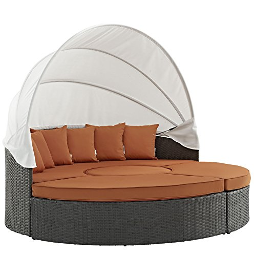- Modway Sojourn Outdoor Patio Sectional Daybed with Canopy With Sunbrella Brand Tuscan Orange Canvas Cushions