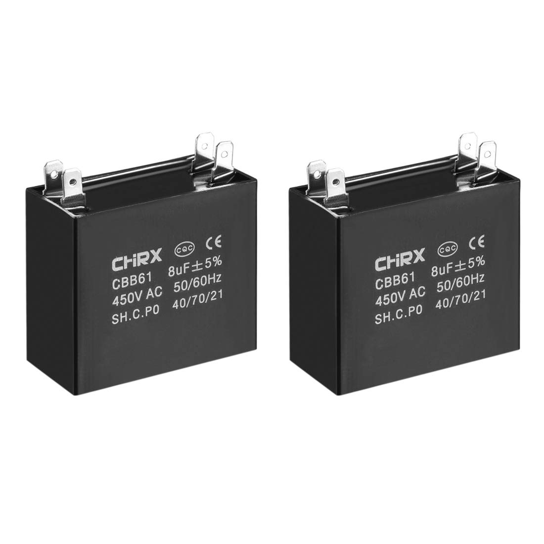 sourcing map CBB61 Run Capacitor 450V AC 8uF Doule Insert Metallized Polypropylene Film Capacitors for Ceiling Fan 2pcs