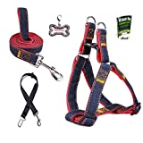 Olivery No-Pull Dog Leash Harness Set w Car Seat Belt, FREE ID Tag, Adjustable Heavy Duty Denim Easy Step in Collar Set for Large/Medium Pet Training & Everyday Walking, Size L, Red