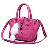 Shengxilu Women's Pu Leather Handbag Lady's Line Lattice Tote with Lock