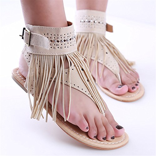 Beach Flops New 915005 Tassel Woman Summer Flat Bohemia Women Vintage Women Shoes Brown Sandals Flip ZdqU87xU